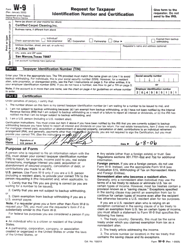 Copy Of A W9 Form Divingexperience